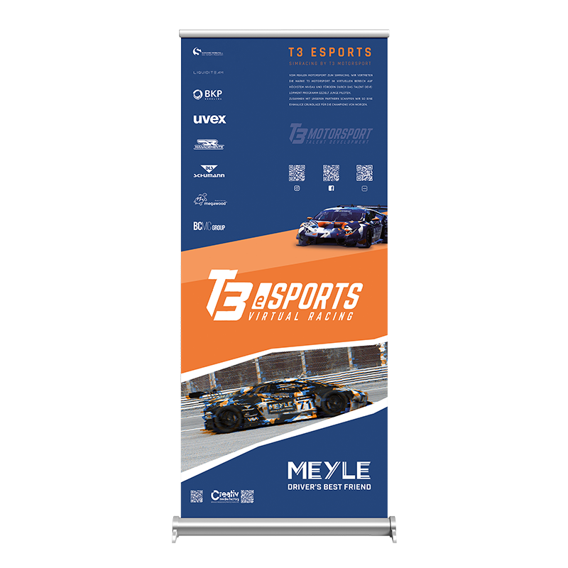 T3-eSports Roll-up  T3 Motorsport   Logodesign   Grafikdesign